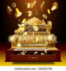 Vintage cash register and a gold money rain. Business and finance metaphor. Vector illustration