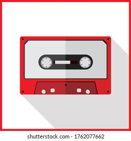 Vintage cassette audio tape, simple flat design on white background with long shadow