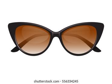 Vintage cateye sunglasses black vector.Isolated