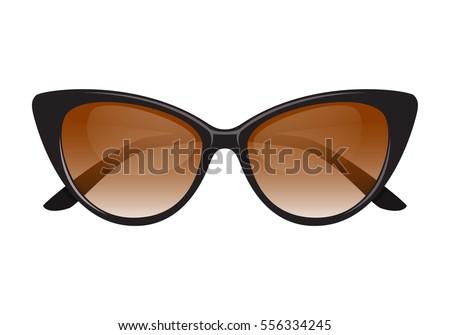 e95db413c93 Vintage Cateye Sunglasses Black Vector Isolated Stock Vector ...