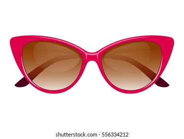 Vintage cateye sunglasses pink vector.Isolated