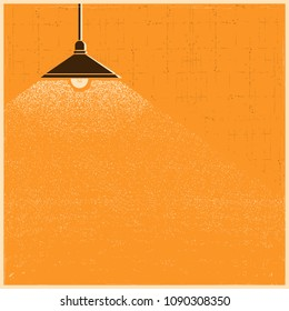 Vintage ceiling lamp lighting in the room background.Vector old poster illustration for text