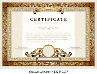 Vintage certificate with gold, luxury, ornamental frames, coupon, diploma, voucher, award template for achievements, progress business, education, art, medicine, etc. Ornate border, ornament elements.