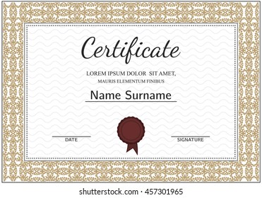 Vintage certificate with luxury ornamental frames, award template for achievements, progress business, education. Vector.