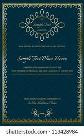 Vintage Certificate on damask background with golden frame
