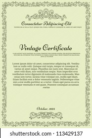 Vintage certificate on seamless background