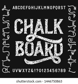 Vintage chalk board alphabet font with alternates. Handwritten uppercase letters and numbers. Stock vector typeface.