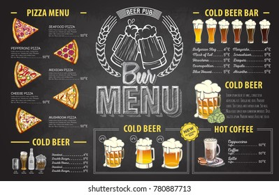 Vintage chalk drawing beer menu design. Restaurant menu