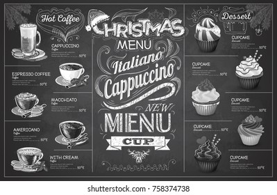 Vintage chalk drawing christmas coffe menu design. Restaurant me