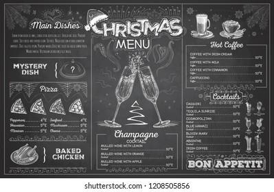 Vintage chalk drawing christmas menu design with champagne. Restaurant menu