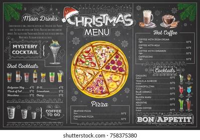 Vintage chalk drawing christmas menu design. Restaurant menu