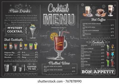 Vintage chalk drawing cocktail menu design. Restaurant menu