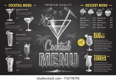 Vintage chalk drawing cocktail menu design. Beverages menu