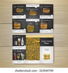 Vintage chalk drawing fast food menu. Sandwich sketch corporate identity