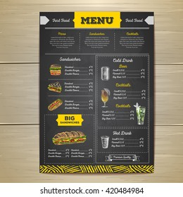 Vintage chalk drawing fast food menu design. Sandwich sketch