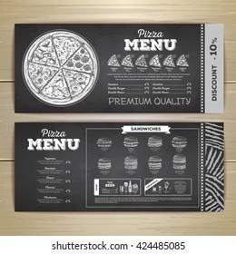Vintage chalk drawing fast food menu design. Pizza sketch
