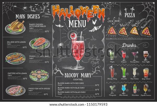 Vintage Chalk Drawing Halloween Menu Design Stock Vector