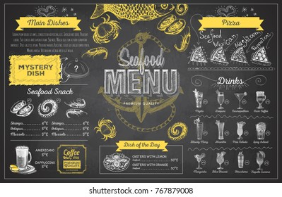 Vintage chalk drawing seafood menu design. Restaurant menu