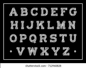 Vintage chalk font on a black background. Decorative handmade chalk alphabet. Vector sketch letters. Vector illustration.