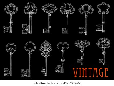 Vintage chalk sketches of ancient keys on blackboard with decorative bows, adorned by openwork flourishes. Engraving drawings of medieval skeleton keys for embellishment or tattoo design