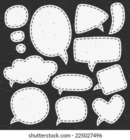 Vintage chalk speech bubbles. Different sizes and forms. Hand drawn vector illustration.
