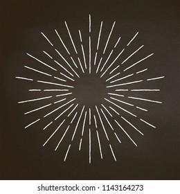Vintage chalk textured rays on blackboard. Linear sunburst design element in retro style.