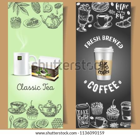 vintage chalkboard coffee tea flyer design stock vector royalty