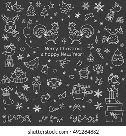 Vintage Chalkboard color board with Christmas doodle icons set. Happy New Year and Merry Christmas hand written greeting signs. Xmas animals and patterns collection.