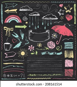 Vintage Chalkboard Design Elements Hand Drawn Vector Set