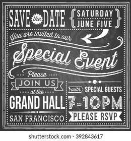 Vintage Chalkboard Invitation - retro and hand-drawn elements. File is layered, each object is grouped separately, colors are global for easy editing. Texture can be removed.