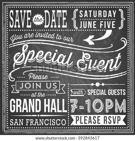 vintage chalkboard invitation retro handdrawn elements stock vector