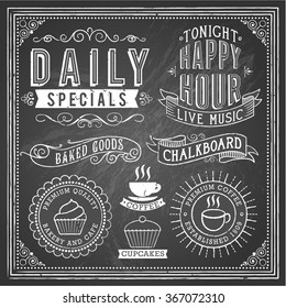 Vintage Chalkboard Ornaments - Set of chalkboard ornaments and banners. Each object is grouped and file is layered for easy editing. Textures can be removed.