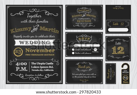 vintage chalkboard wedding invitations design sets stock vector