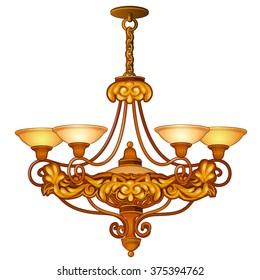 Vintage chandelier for the living room. Vector.