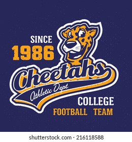 Vintage cheetahs textured varsity team sport t-shirt apparel graphic design, athletic department (grunge effect easy removable from separate layer)