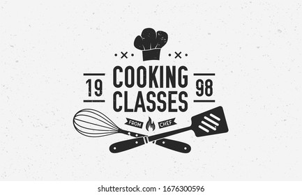 Vintage Chef logo. Cooking Class template logo with spatula, whisk and chef hat. Modern design poster. Logo, Poster for food studio, cooking courses, culinary school. Vector illustration