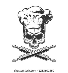 Vintage chef skull without jaw and crossed rolling pins isolated vector illustration