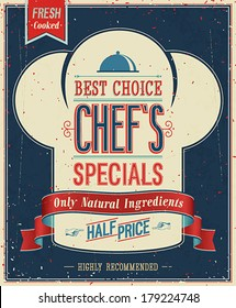 Vintage Chef`s specials Poster. Vector illustration.