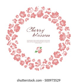 Vintage cherry blossom wreath. Isolated on white background. Place for your text. Vector.