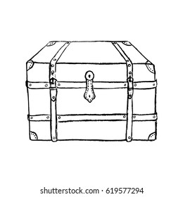 Vintage chest/ Vintage furniture/ Interior design elements/ Hand drawn charcoal sketch illustration isolated on white background