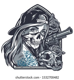 Vintage chicano girl with tattoos in baseball cap and scary mask rose flowers cat skull gun isolated vector illustration