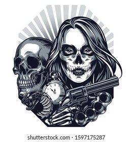 Vintage chicano style tattoo concept with skull snake antique pocket watch brass knuckles skeleton hand holding gun girl head with scary makeup isolated vector illustration