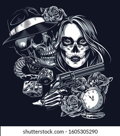 Vintage chicano style tattoo template with skull in fedora hat dice roses pocket watch snake skeleton hand holding gun and girl with scary makeup isolated vector illustration