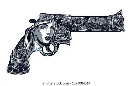 Vintage chicano tattoo concept in gun shape with pretty girl roses dice brass knuckles heart in barbed wire diamonds in skull eyes sockets isolated vector illustration