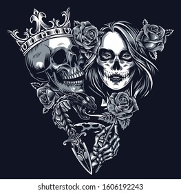 Vintage chicano tattoo concept in triangle shape with skull in crown snake dagger skeleton hand holding rose and girl head with sugar skull makeup isolated vector illustration