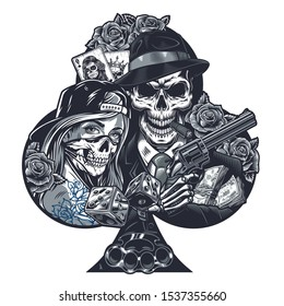 Vintage chicano tattoo template with girl in scary mask gangster skeleton holding revolver dice brass knuckles money packs rose flowers playing cards isolated vector illustration