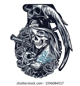 Vintage chicano tattoo template in grenade shape with girl in scary mask and baseball cap cat skull roses angel wing revolver brass knuckles money banknotes isolated vector illustration