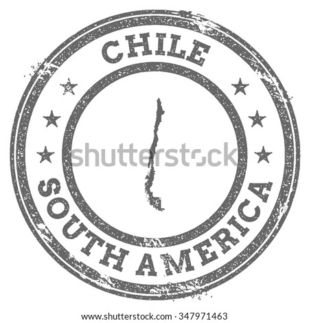 Vintage Chile Stamp With Continent Name Grunge Rubber Map South America And
