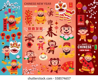 "Vintage Chinese new year poster design set. Chinese character ""Gong Xi Fa Cai"" means Wishing you prosperity and wealth, ""Xing Nian Kuai Le"" means Happy Chinese new year"