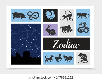 Vintage Chinese zodiac signs composition with celestial star map rat ox tiger dragon snake horse monkey rooster dog pig ram rabbit silhouettes vector illustration